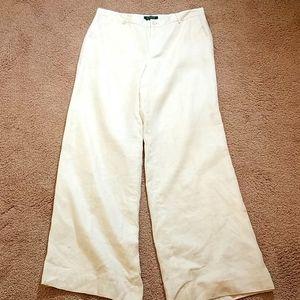Ralph Lauren white linen lined bootcut dress pants
